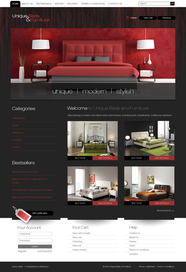 Unique Beds website design