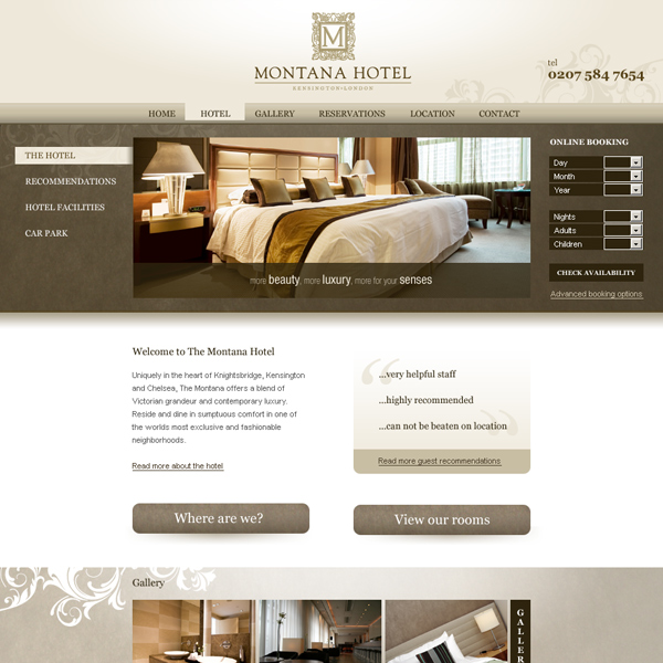 Montana hotel website design by deft creative for Hotel web design